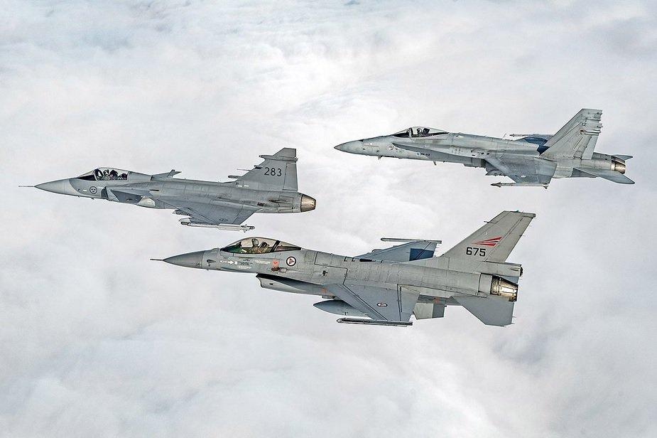 Finnish F/A-18C, Swedish Gripen C and Norwegian F-16AM AFM exercise [Ilmavoimat]