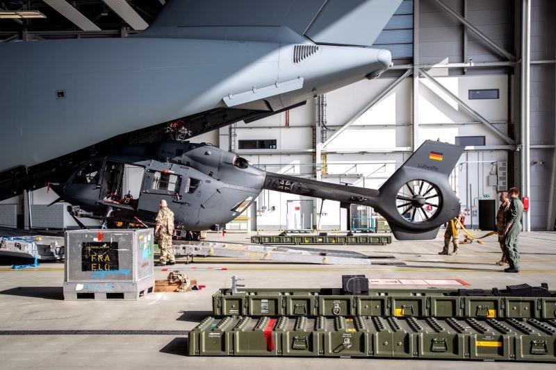 German H145M loading onto A400M
