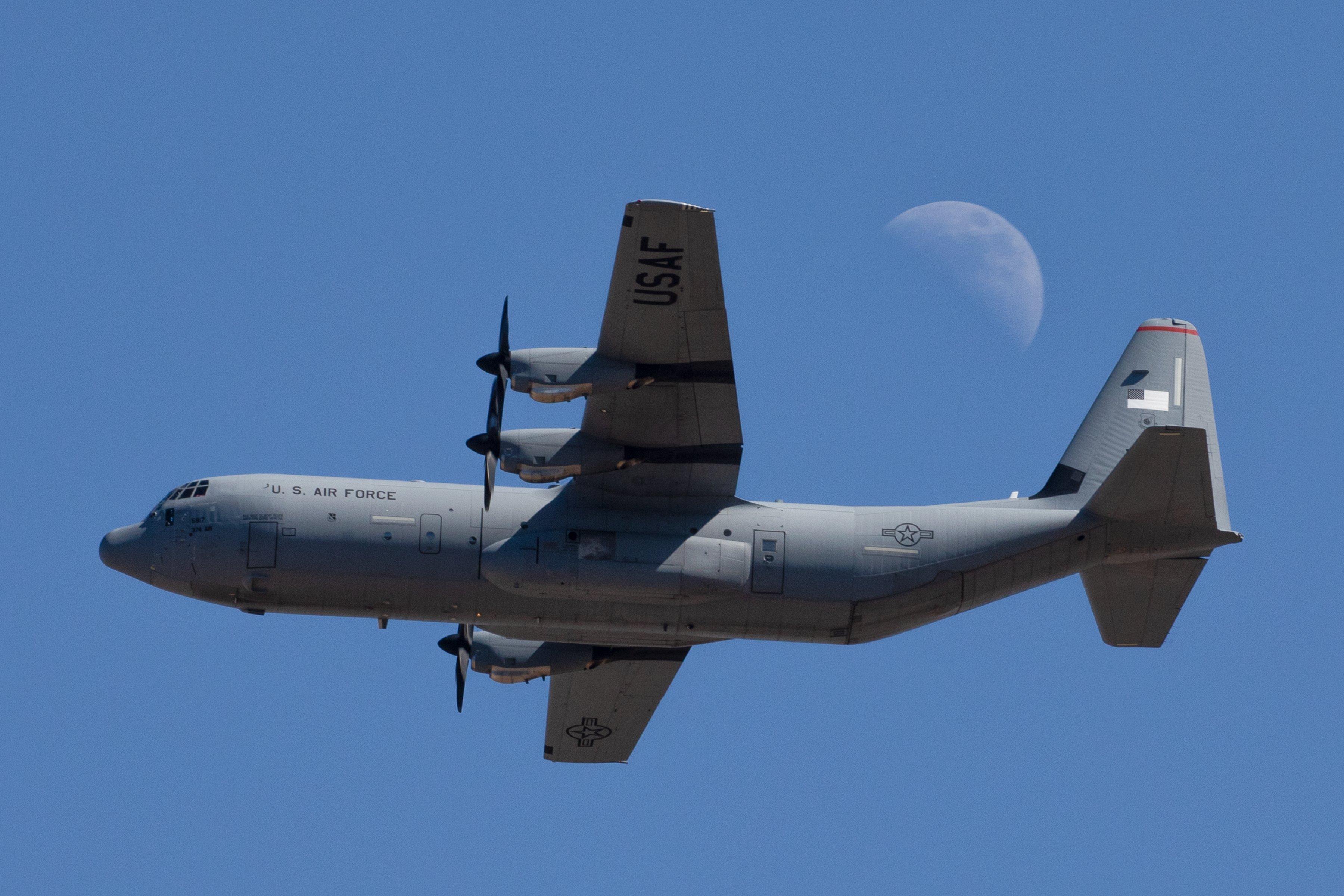 USAF C-130J-30 over Yokota AB, Japan [USAF/Yasuo Osakabe]