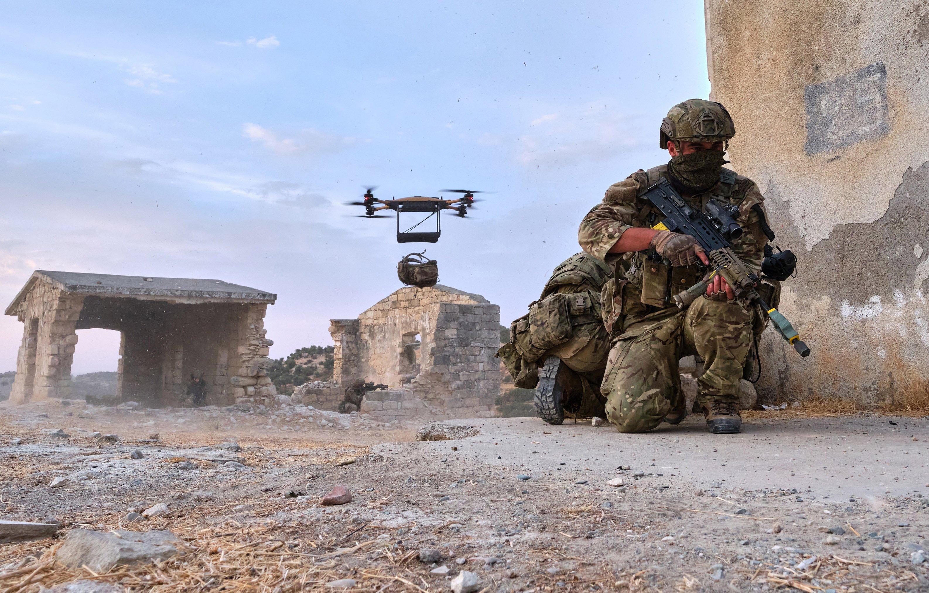 Malloy Aeronautics heavy lift drone bergan drop [MoD Crown Copyright/Petty Officer Photographer Si Ethell]