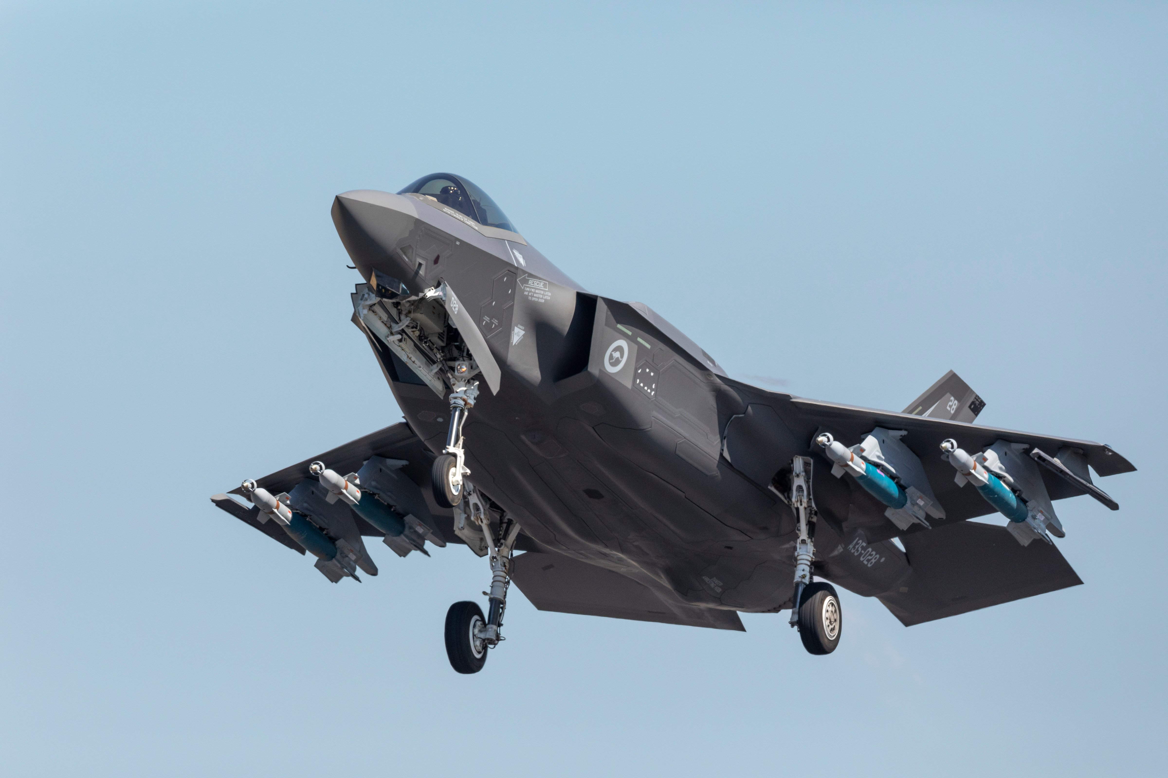 RAAF F-35A with external GBU-12 load at Arnhem Thunder 2021 [Commonwealth of Australia - Department of Defence/LAC Steward Gould]