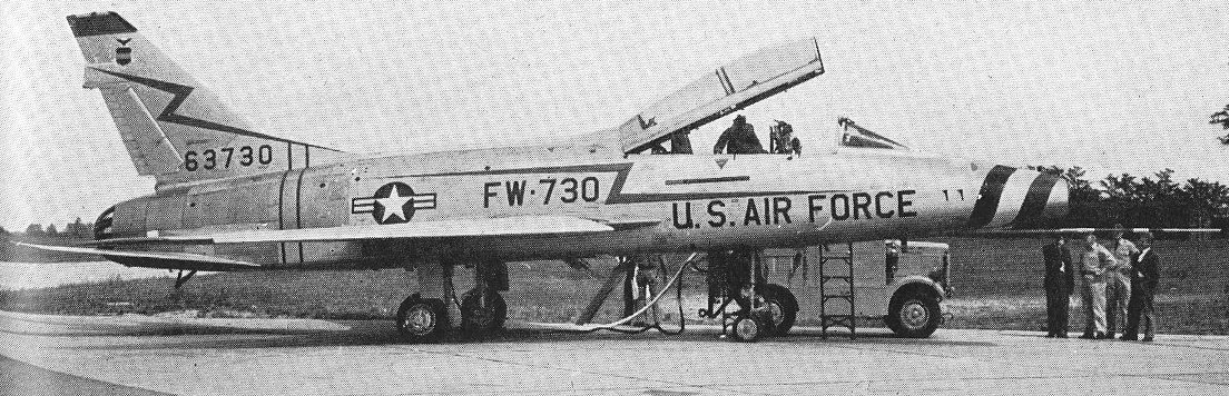 """OPERATIONAL TWO-SEATHER. – Intended for all normal operational roles as well as for high-speed training, the N.A. F-100F Super Sabre is surprisingly tractable for its weight and performance. FW-730, """"The Spirit of St. Louis II"""", is the sixth production F-100F. Photograph copyright """"The Aeroplane"""""""