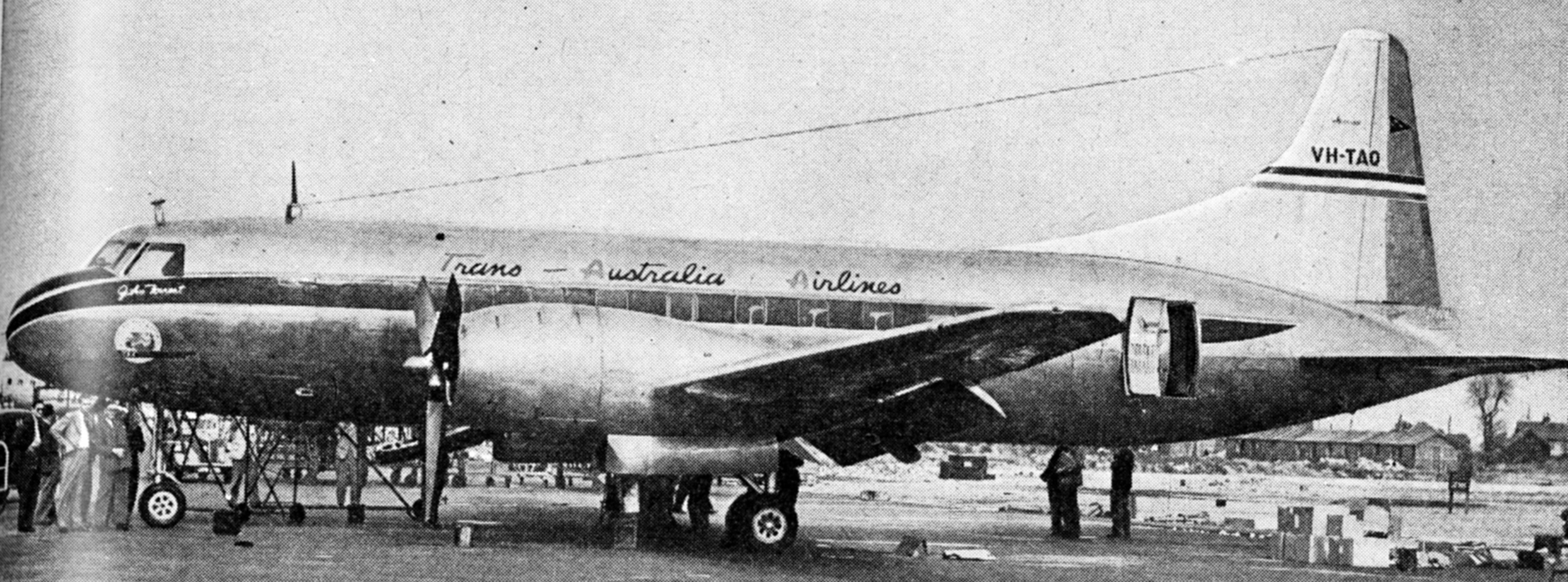 """FIRST TIME IN BRITAIN. – On August 28 the first Convair-liner to be seen in this country arrived at Heathrow. It belongs to Trans-Australia Airlines, and was on delivery from San Diego, California to Melbourne. All """"Aeroplane"""" photographs"""