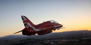 Flying into the sunset… the Red Arrows Hawk T1 is set for replacement.