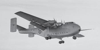 The show's opening Thursday brought a surprise airborne appearance from the new Blackburn Universal Freighter prototype, later better known as the Beverley.