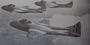 Pupil pilots of N. 5F.T.S., Oakington, undergo dual instruction in formation flying in three Vampire T.11s. Most solo exercises are flown in single-seat Vampire F.B.5s.