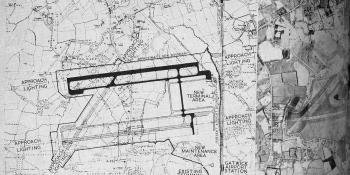 The composite picture of Gatwick shows (left) the arrangement of the proposed runways, taxi tracks and building areas superimposed on an Ordnance Survey map, with (right) an aerial view of the present site, taken by the Air Survey Company and reduced to the same scale. In the map solid black is used to show the paving work to be completed by 1956 and cross-hatching to show the duplicate runway system, work on which is to be started in 1958. Th N.E.-S.W. runway may be laid down at the same time if traffic de