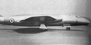 The dual-control Canberra T. Mk. 4 which is to be used for Operational Conversion.