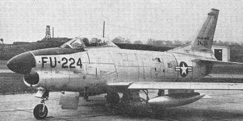 """An F-86D-50-NA of the 513th Fighter Interception Squadron at Manston. Note the many vortex generators, including those on one of the NACA flush intakes for tailpipe cooling. All """"Aeroplane"""" photographs"""