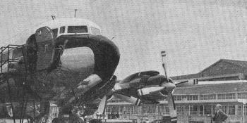 "SOUTHERN TERMINUS. – S.A.A.'s DC-7B ""Dromedaris"" at Jan Smuts Airport after a 21-hr. run from London."