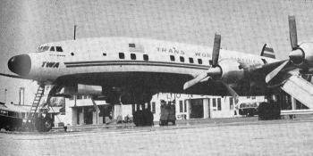 A T.W.A. Starliner, at London Airport.