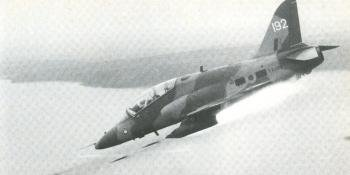 A Hawk of No 1 Tactical Weapons Unit firing a salvo of 68mm unguided rockets from a Sneb pod.