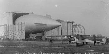 An airship and a BE2