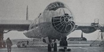 """The fuselage of the B-36 is almost completely circular in section. Points of interest include the radar scanner behind the steerable nosewheel unit, the offset bomb-aiming panel, and nose cannon. All """"Aeroplane"""" photographs"""