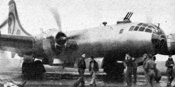A SOUTHLAND AGGRESSOR. – One of the U.S.A.F.'s B-29 Superfortress which attempted to penetrate the defences. A representative of THE AEROPLANE flew in one of these aircraft during the exercise.
