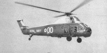 """Sub. Lieut. Boas lifts Wessex """"300"""" off the pad at Culdrose for a practice sortie."""