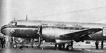 FIRST TIME IN BRITAIN. – On August 28 the first Convair-liner to be seen in this country arrived at Heathrow. It belongs to Trans-Australia Airlines, and was on delivery from San Diego, California to Melbourne.