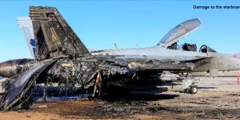 Fire damaged RAAF Growler