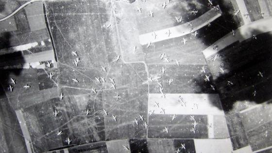 Aerial picture of landing zone at Ranville on D-Day