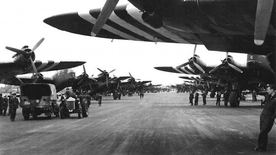 299 Squadron Stirling gliders getting ready for D-Day