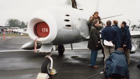 Mark and film crew at Biggin Hill in 1995.