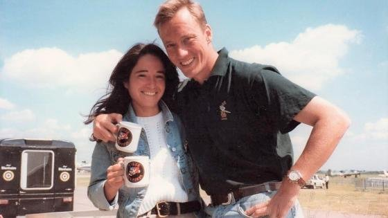 Mark and friend brandishing Tiger Squadron mugs in 1997.