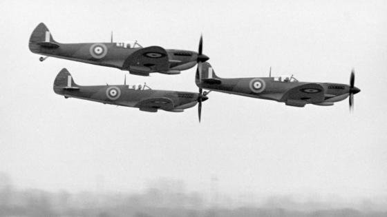 A trio of Spitfires, probably during the filming of 'A Perfect Hero'.
