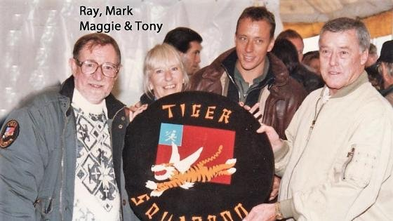 Tony and Maggie Radcliffe with Mark and Ray Hanna at a Tiger Squadron event.